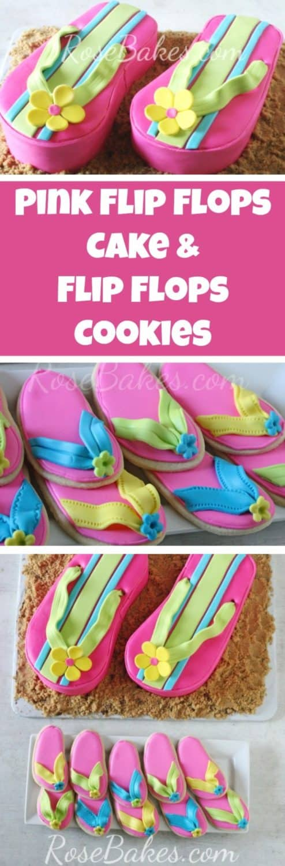 Pink Flip Flops Cake and Flip Flops Cookies