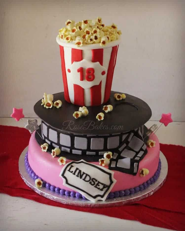 Movie Theater Cake with Popcorn
