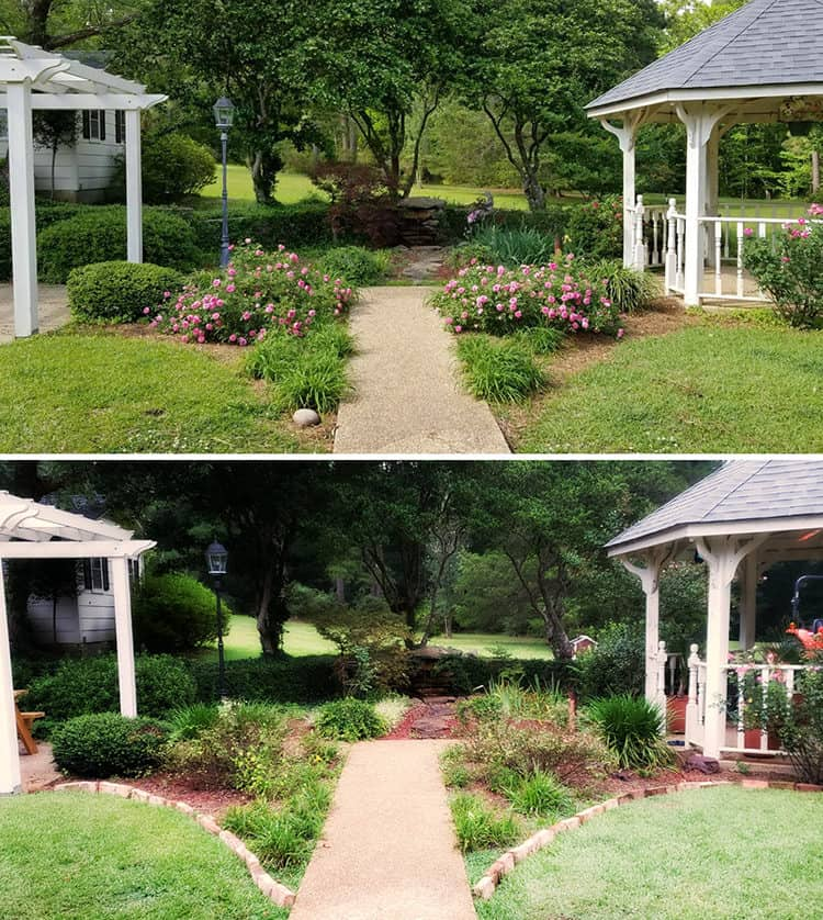 two pics of backyard with and without brick borders on flower beds