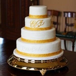 Gold Embossed Monogram Wedding Cake WM