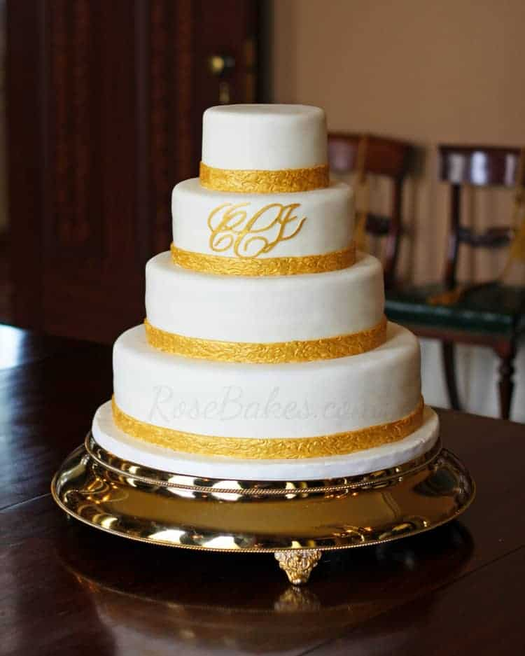 Classic Gold Monogrammed Wedding Cake Rose Bakes