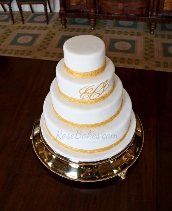 Classic Gold Monogrammed Wedding Cake Rose Bakes