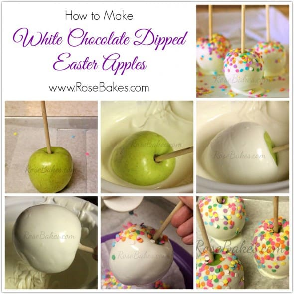 How to Make White Chocolate Dipped Easter Apples Collage