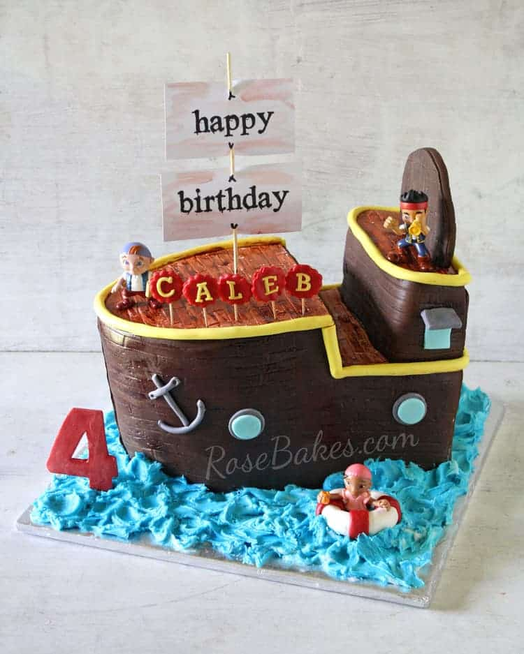 Terrific Jake And The Neverland Pirates Pirate Ship Cake Rose Bakes Funny Birthday Cards Online Inifodamsfinfo