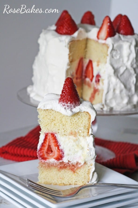 Cake With Whipped Cream Frosting And Strawberries : Strawberry Whipped Cream Cake Recipe   Dishmaps