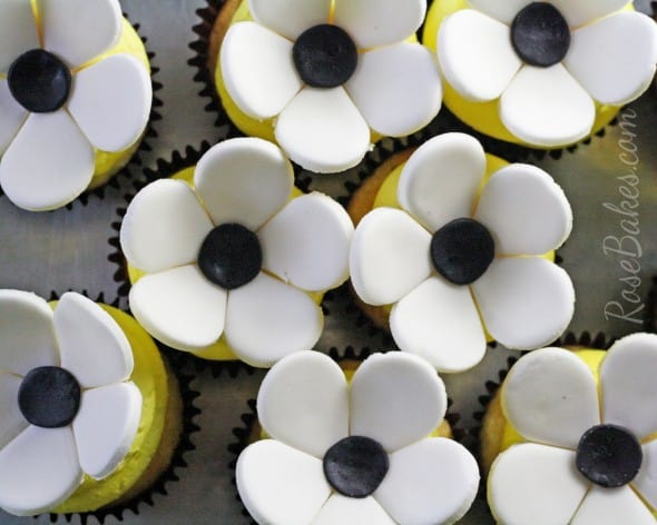 Black White Flower Cupcake Toppers