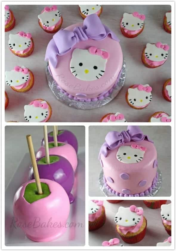 Hello Kitty Cake Cupcakes Amp Candy Apples Rose Bakes
