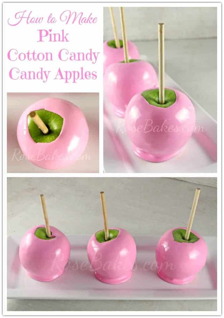 How to Make Pink Cotton Candy Candy Apples1 Peppa Pig Birthday Cake Candles