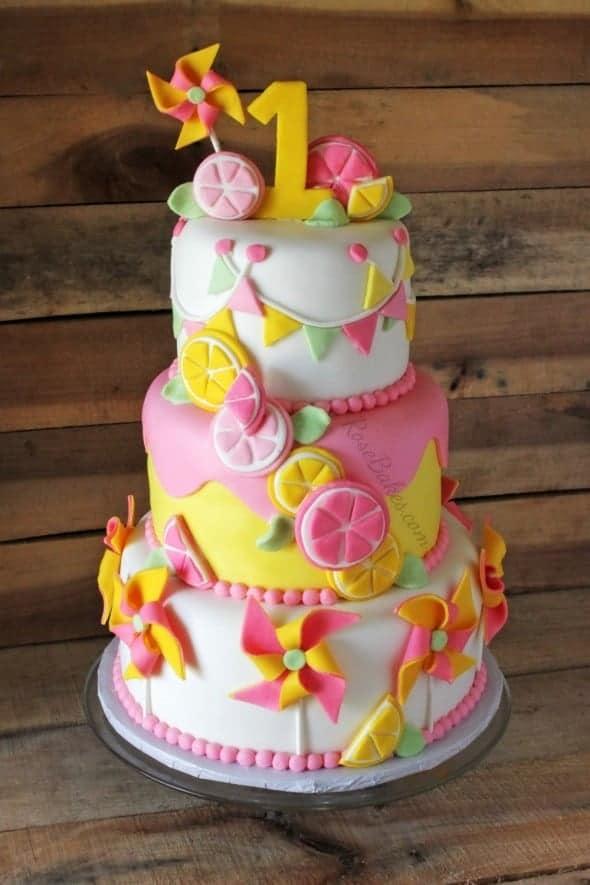 Lemonade & Pinwheels 1st Birthday Cake