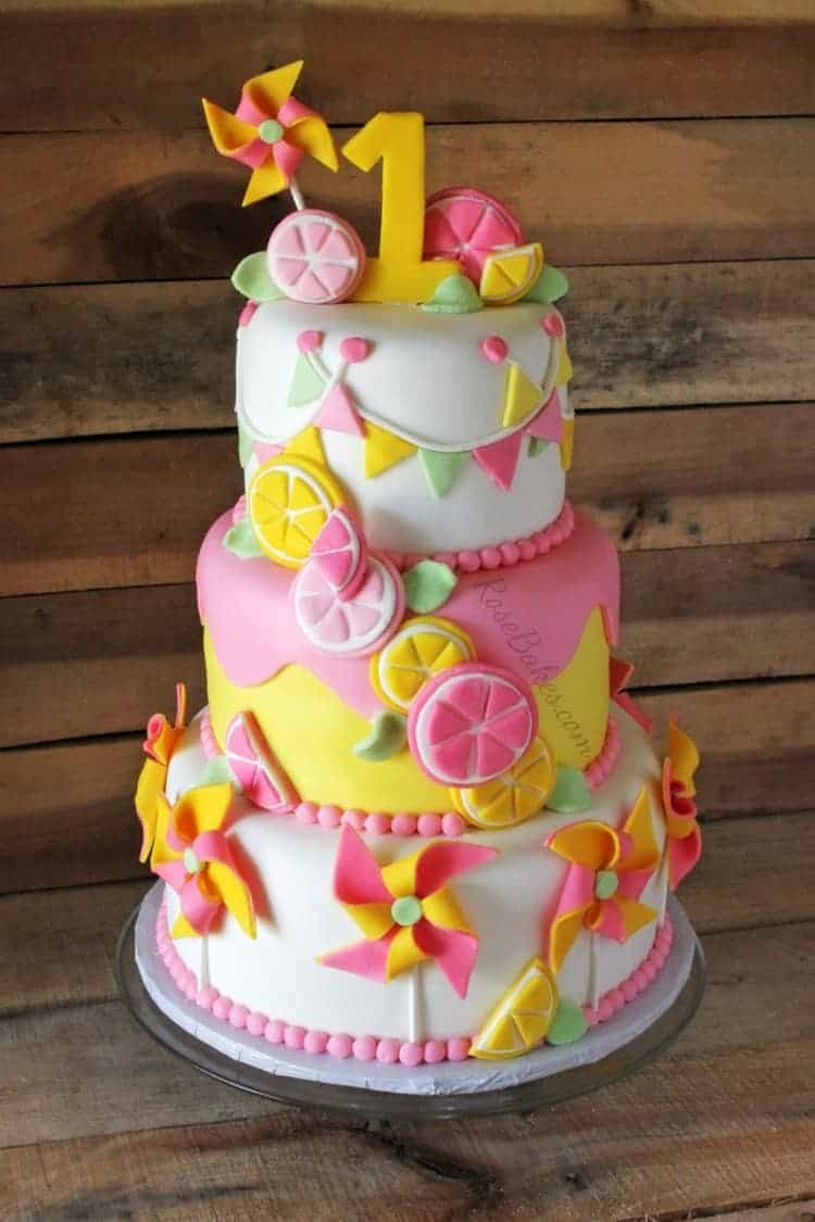 Pinwheels & Pink Lemonade 1st Birthday Cake