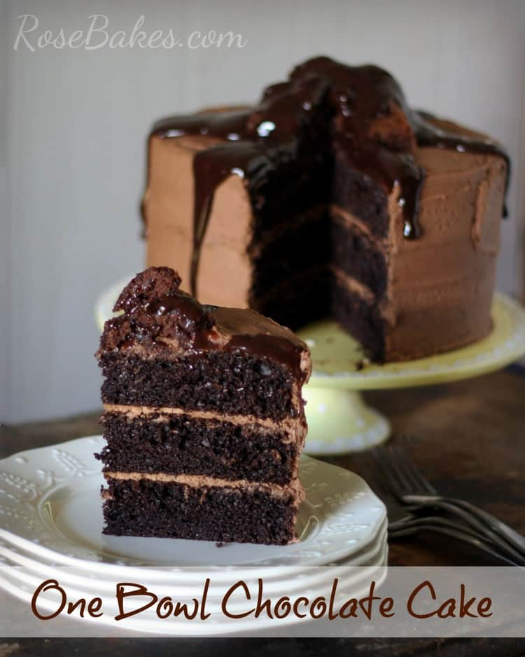 One Bowl Chocolate Cake with Brownie Batter Frosting and Ganache