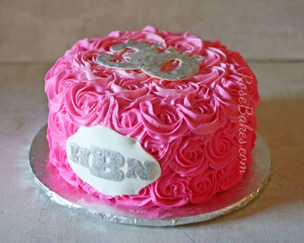 Groovy Hot Pink Buttercream Roses Cake With Monogram Rose Bakes Funny Birthday Cards Online Overcheapnameinfo