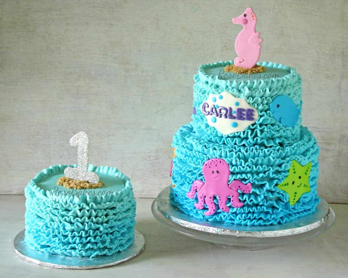 Buttercream Ruffles Under the Sea Cake & Smash Cake - Rose ...
