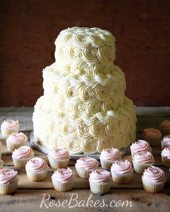Ivory Roses Wedding Cake and Pink Rose Cupcakes