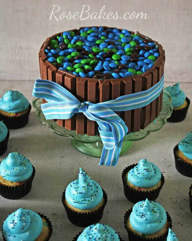 Kit Kat & M&M's Candy Cake And Cupcakes