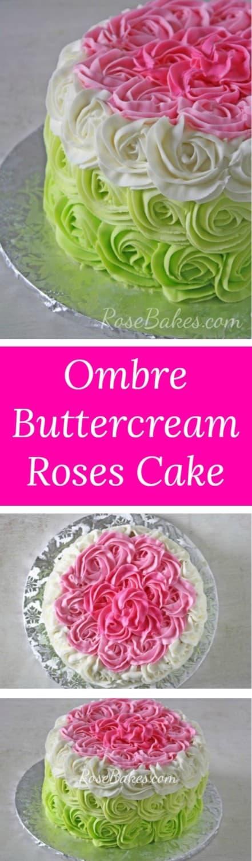 Ombre Buttercream Roses Cake