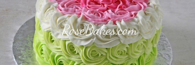 Ombre Roses Pink Green Cake