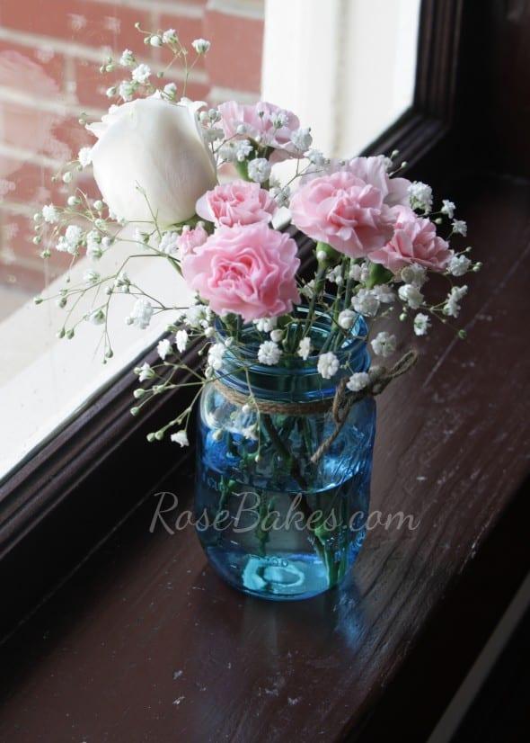 Pink & Blue Wedding Decor Mason Jars