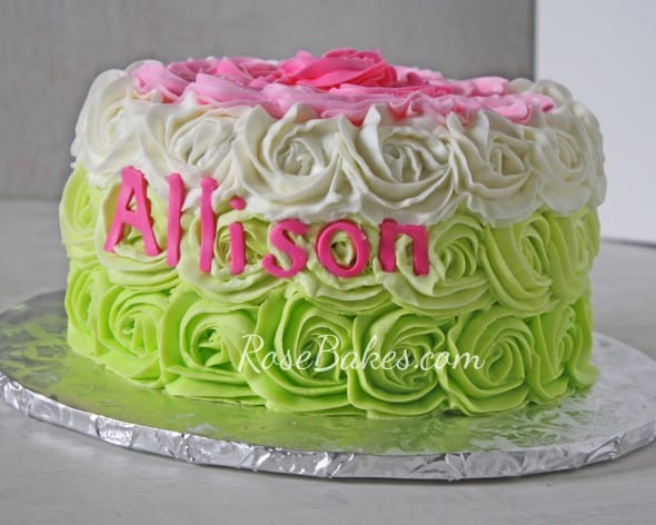 Pink & Green Fading Roses Cake