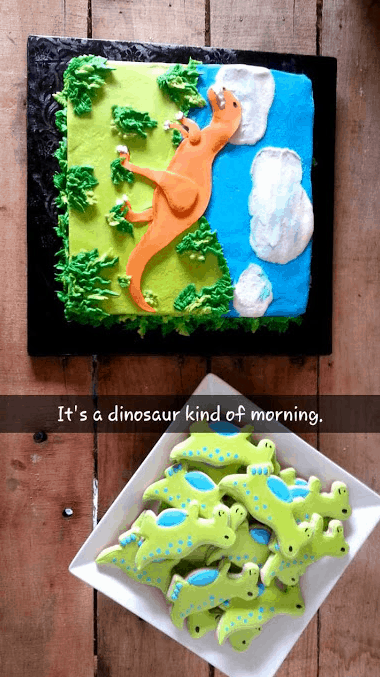 Dinosaur Cake and Cookies