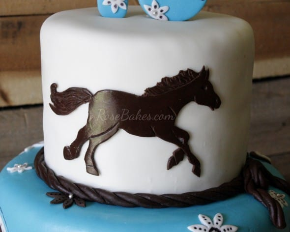 turquoise amp brown cowgirl horse cake rose bakes
