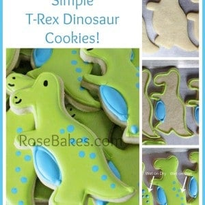 How to Decorate Simple T-Rex Dinosaur Cookies
