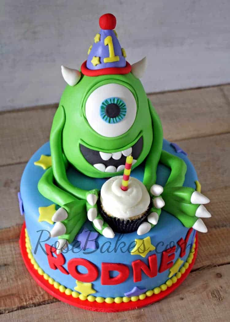 Stupendous Mike Wazowski Monsters Inc Cake Rose Bakes Personalised Birthday Cards Veneteletsinfo