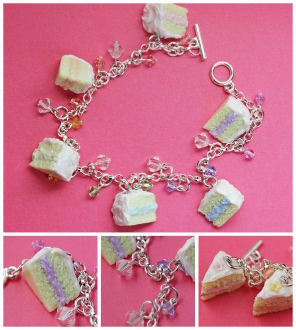 Pastel Vanilla Cake Slice Bracelet with Swarovski Crystals