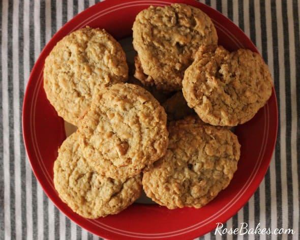Plate of Oatmeal Pecan Cookies