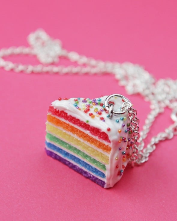 Rainbow Sprinkles Cake Necklace