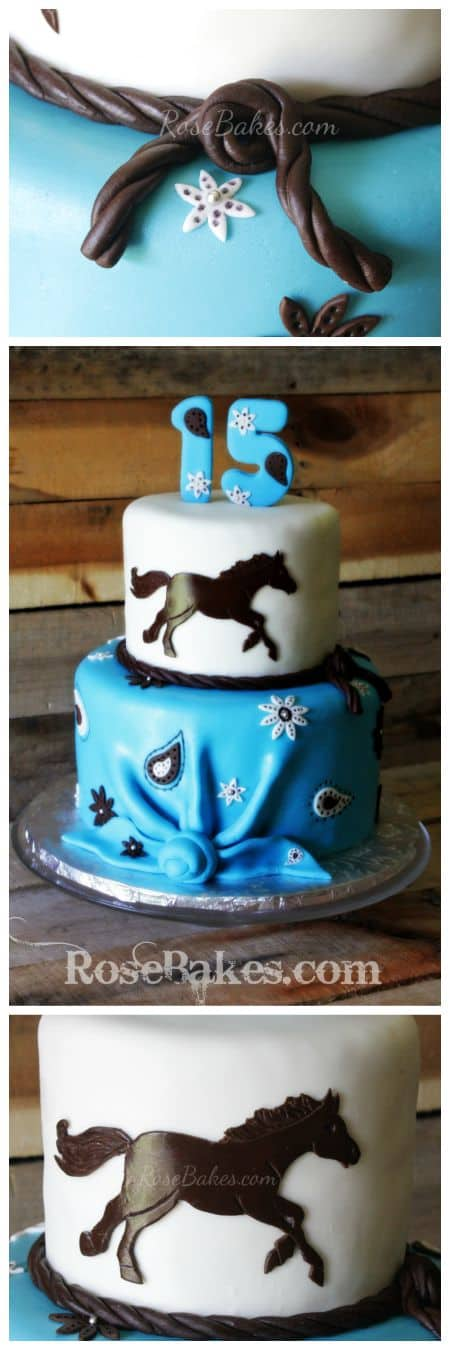 Turquoise Horse Western Cake with Bandana