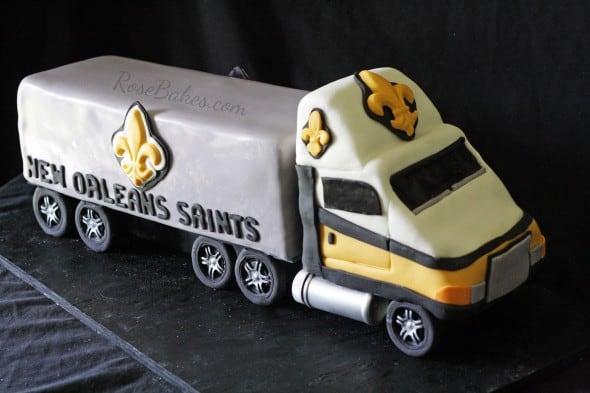 New Orleans Saints 18 Wheeler Truck Cake