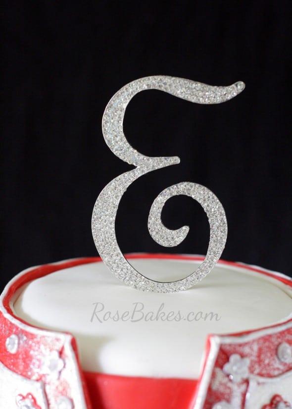 Rhinestone Cake Topper for Wedding Dress Cake