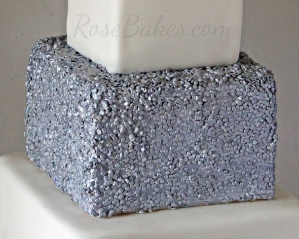 Silver Edible Sequins on Cake