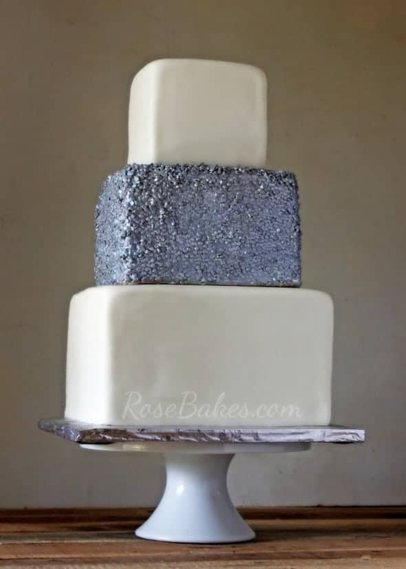 Silver Sequins Square Wedding Cake