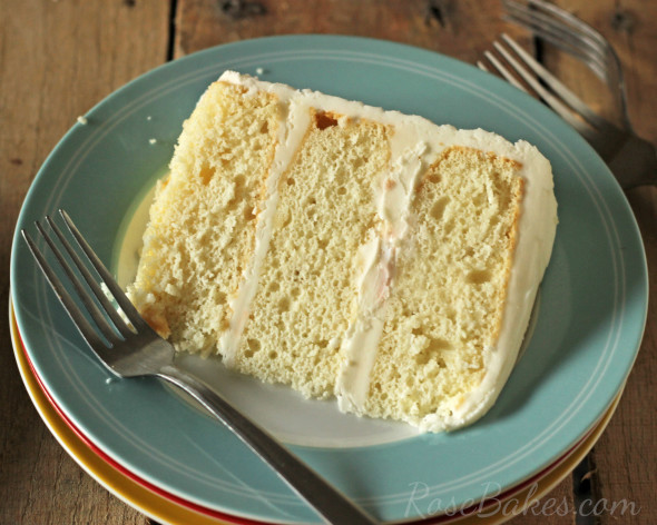 Slice of White Sour Cream Cake