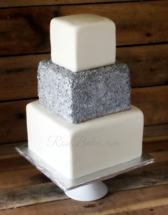 Square Sequins Wedding Cake