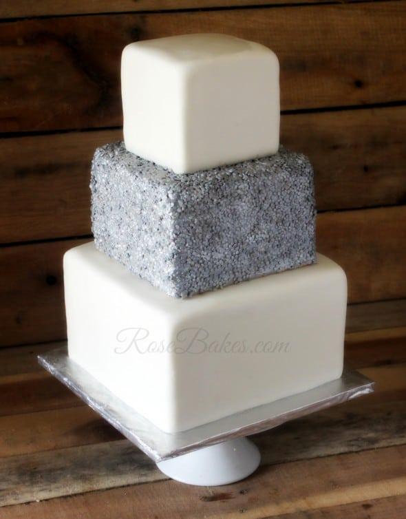 Square Sequins Wedding Cake