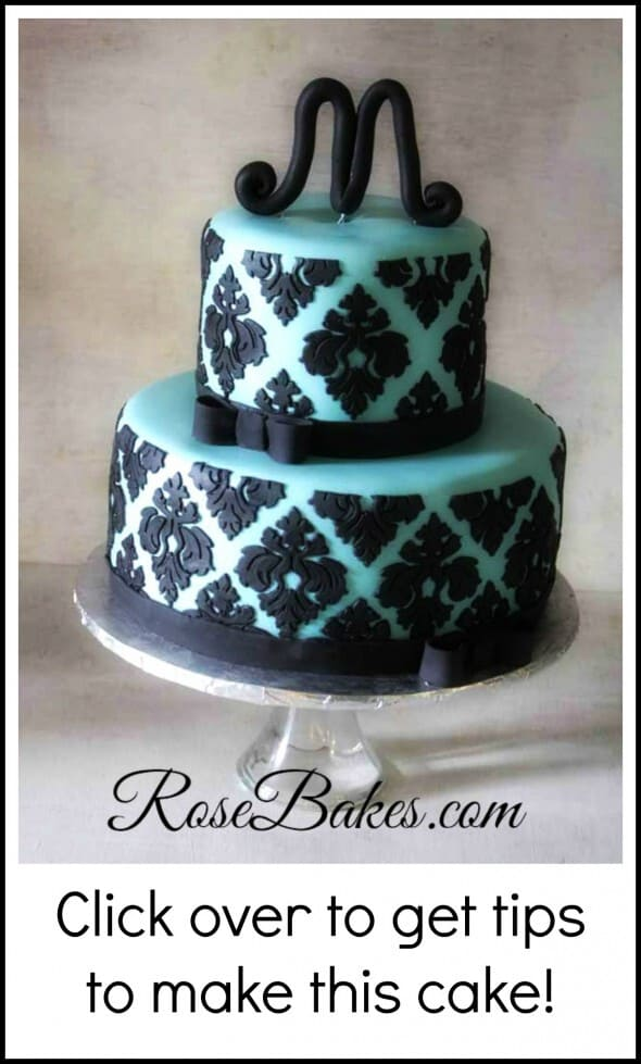 Tiffany Blue Black Damask Baby Shower Cake Rose Bakes