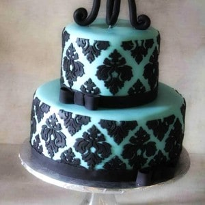 Tiffany Blue and Black Damask Bridal Shower Cake