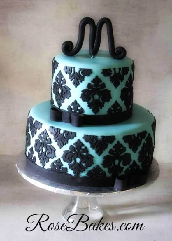 Tiffany Blue and Black Damask Bridal Shower Cake