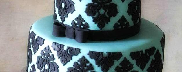 Tiffany Blue Black Damask Baby Shower Cake
