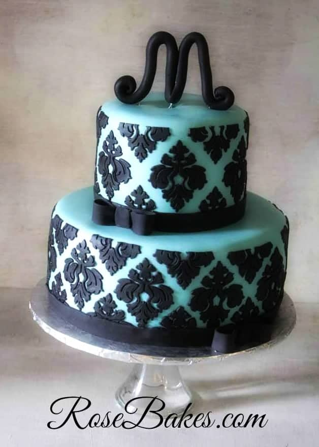 Tiffany Blue Amp Black Damask Baby Shower Cake Rose Bakes