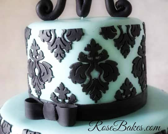Tiffany Blue and Damask Cake