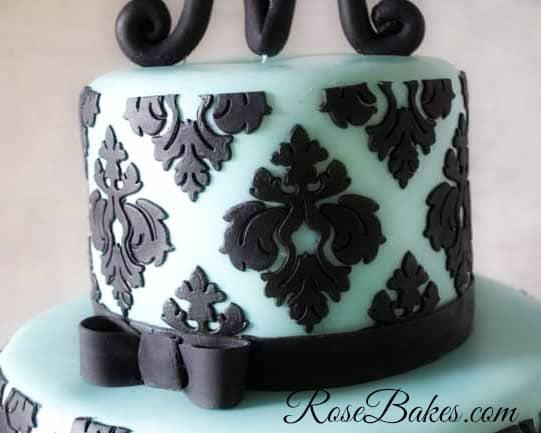 Tiffany Blue and Damask Cake