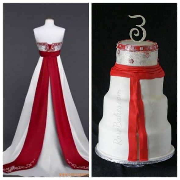 Wedding Dress Back Cake Collage