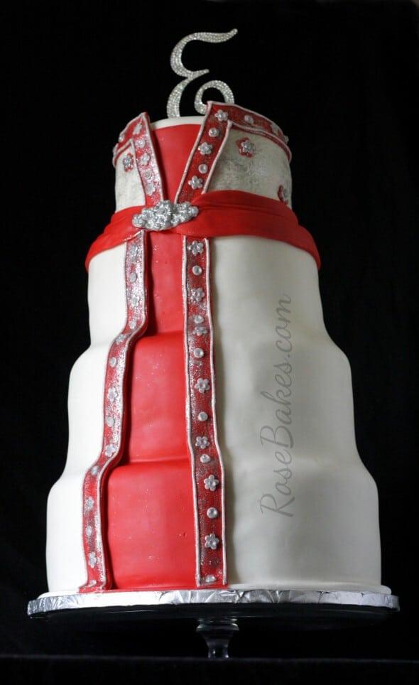 Wedding Dress Wedding Cake Red White