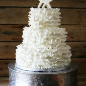 White Starfish Ruffles Wedding Cake