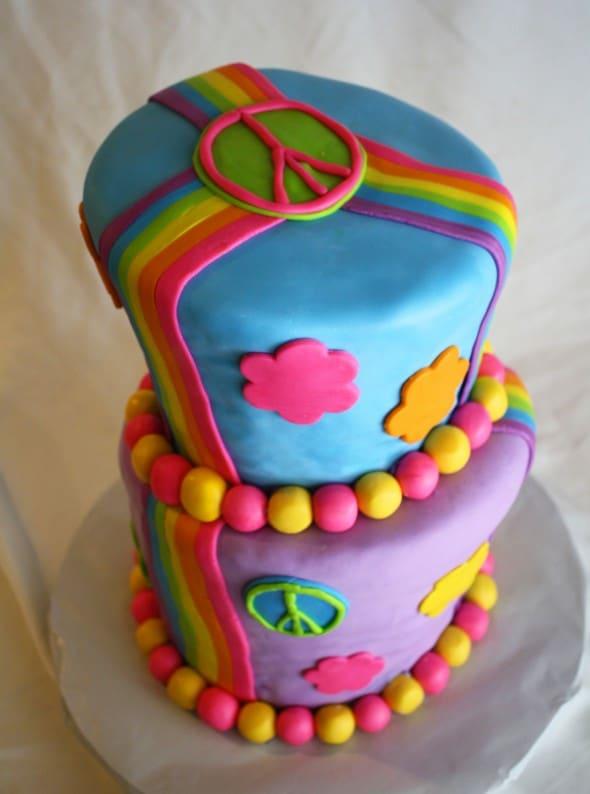 Wonky Rainbow Peace Sign Cake