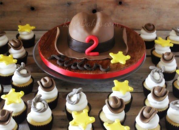 Cowboy Hat Cake and Cowboy Cupcakes